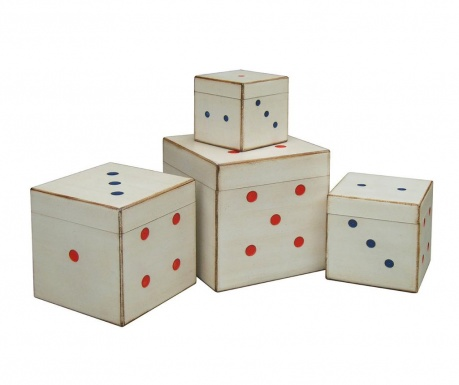 Set of 4 boxes with cover Vintage Dice