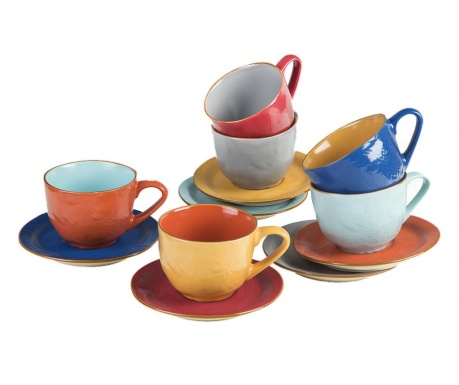 Комплект 6 чашки и 6 чинийки Mediterraneo