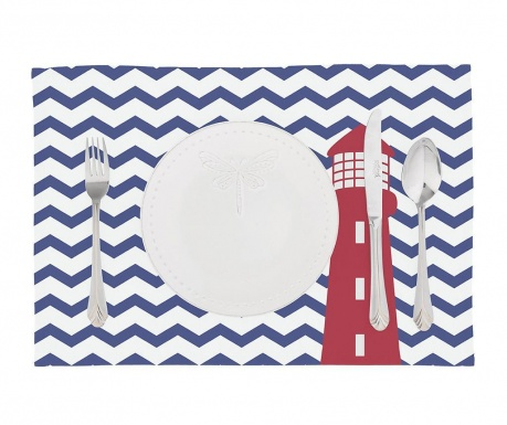 Set 2 podmetača Zig Zag Blue Lighthouse 33x45 cm