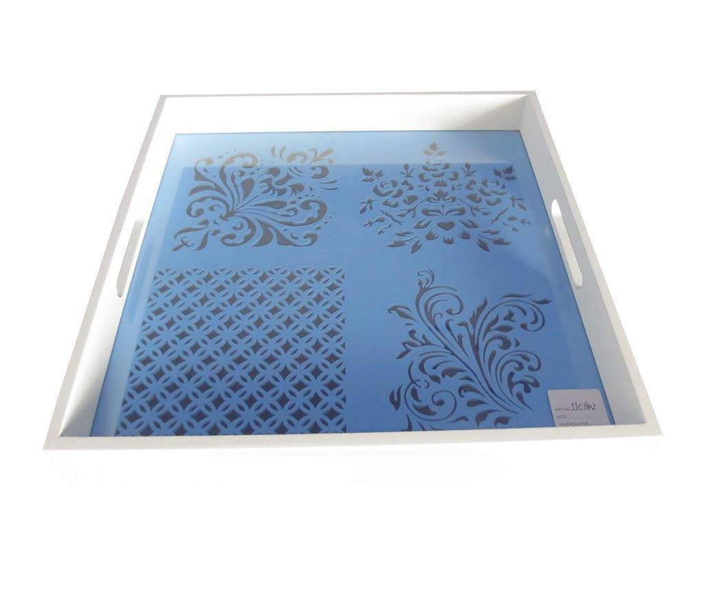 Tava pentru servire Ornament Blue - Creaciones Meng, Alb,Albastru