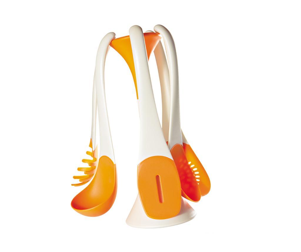 Set 5 ustensile de bucatarie si suport Attraction Orange - Viceversa, Portocaliu