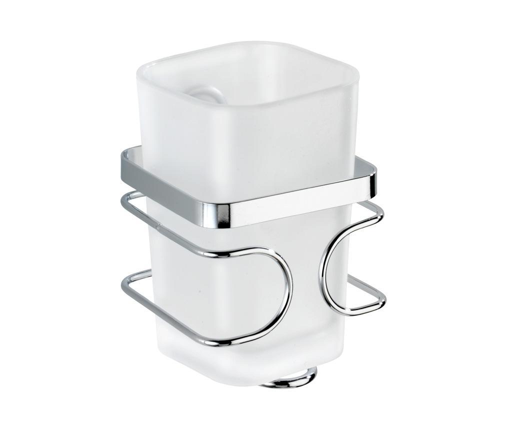 Pahar pentru baie cu suport Premium - Wenko, Alb,Gri & Argintiu