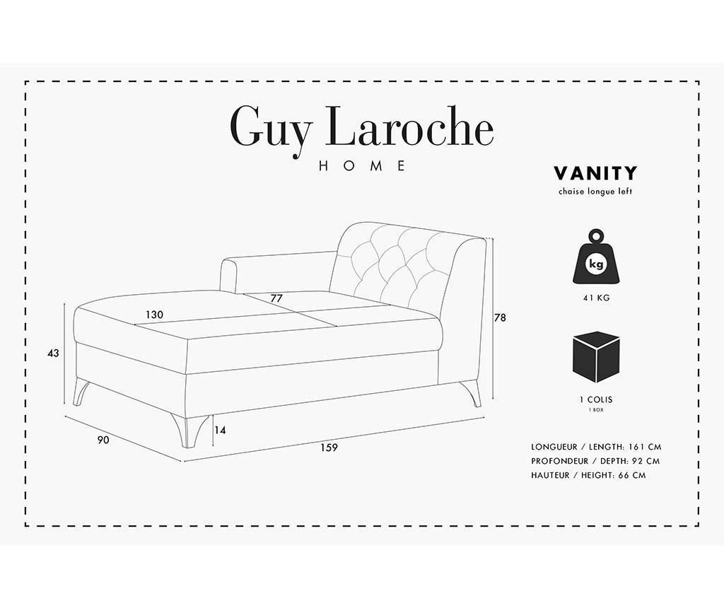 Lijeva ležaljka za dnevni boravak Vanity Grey