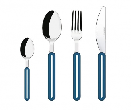 Czteroczęściowy zestaw sztućców Offset Blue