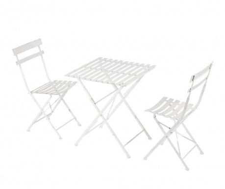 Set - zložljiva vrtna miza in 2 stola Cristine White