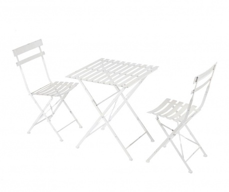 Комплект маса и 2 сгъваеми стола за екстериор Cristine White