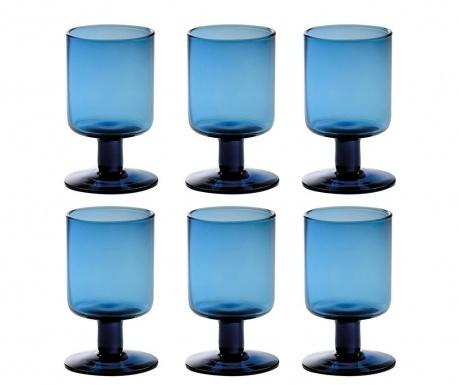 Сервиз 6 чаши за вино Liquify Blue 200 мл