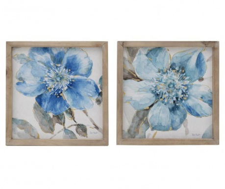 Set 2 tablouri Priscille Blue 34x34 cm