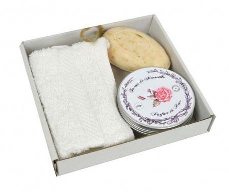 Set kupaonski ručnik i 2 sapuna De Marseille Rose