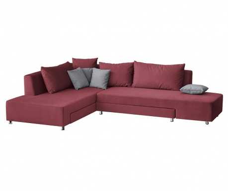 Модулен ляв ъглов диван Velours Red