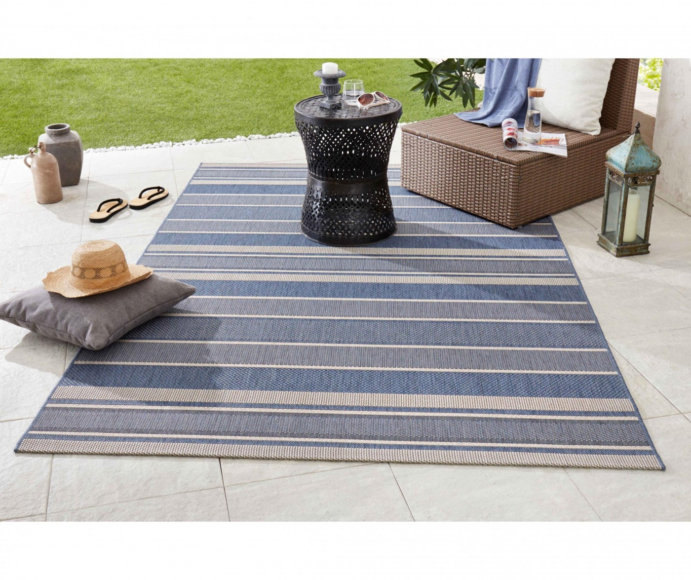 Covor de exterior Meadow Strap Blue 160x230 cm