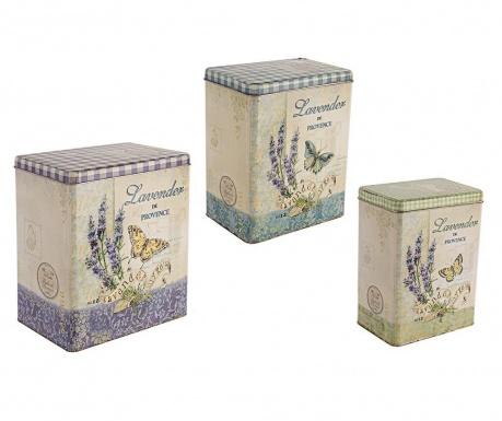 Zestaw 3 pudełek z pokrywką Lavender