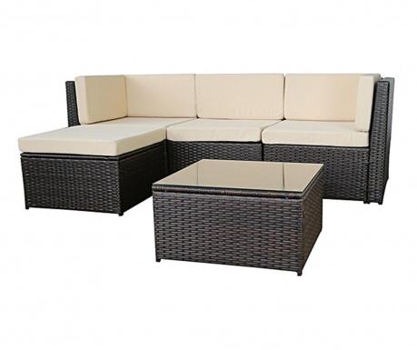 Set coltar modular si masuta pentru exterior Relax Brown Beige