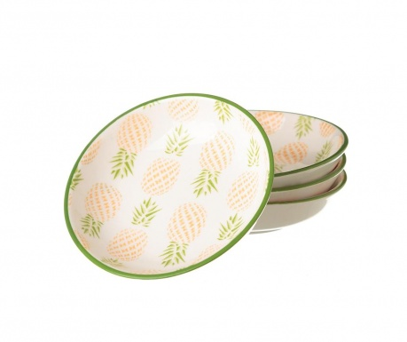 Set 4 krožničkov Pineapple Green