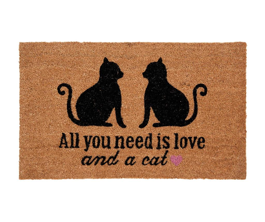 Covoras de intrare Cat Love 45x75 cm - Clayre & Eef, Maro