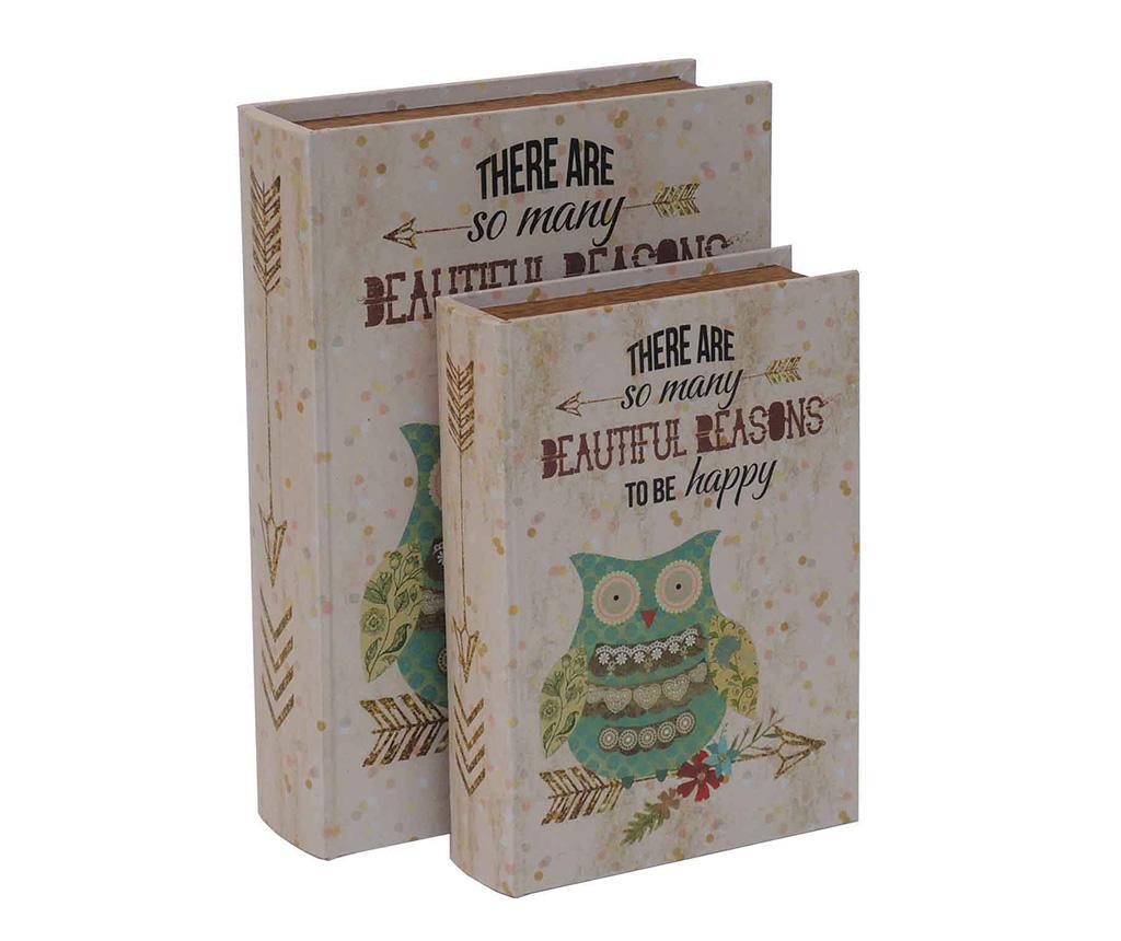 Set 2 cutii tip carte Guffo - Bolzonella, Crem