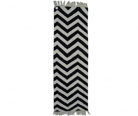 Covor Kilim ZigZag Black and White 76x244 cm