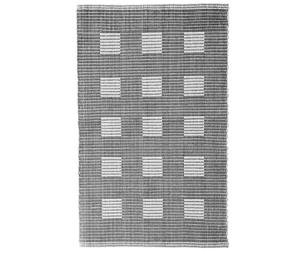 Ribbed Squares Grey Fürdőszobai szőnyeg 60x100 cm