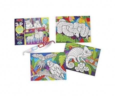 Caiet cu 30 de desene 3D pentru colorat Funny Animals