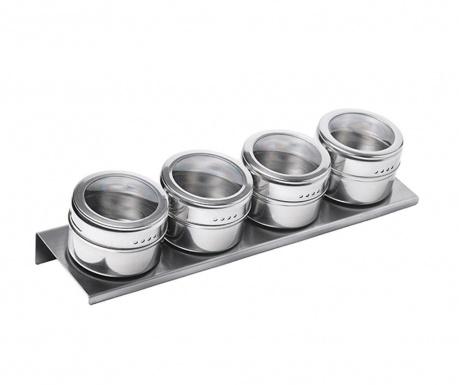 Комплект 4 съда за подправки и поставка Hemet Silver