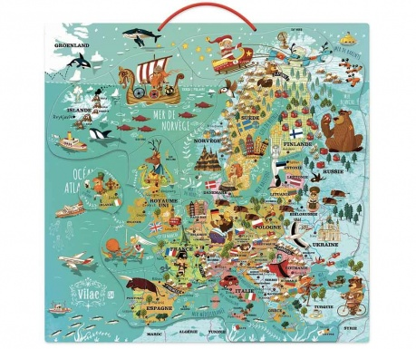 Puzzle magnetic 37 piese Europe Map