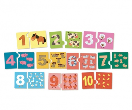 Set 10 puzzle-uri 2 piese Learn Numbers