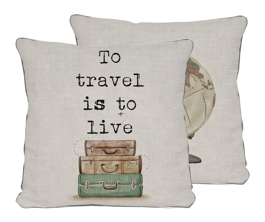 Perna decorativa Travel is to Live 45x45 cm - Really Nice Things, Gri & Argintiu