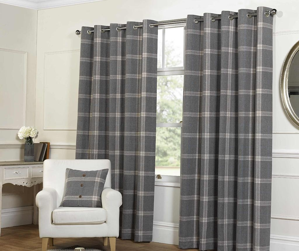 Set 2 zastora Plaid Check Grey 229x229 cm