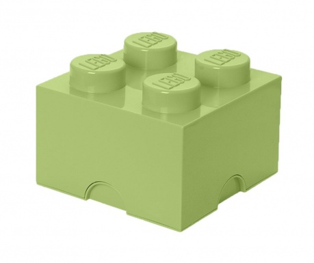Кутия с капак Lego Square Four Yellowish Green