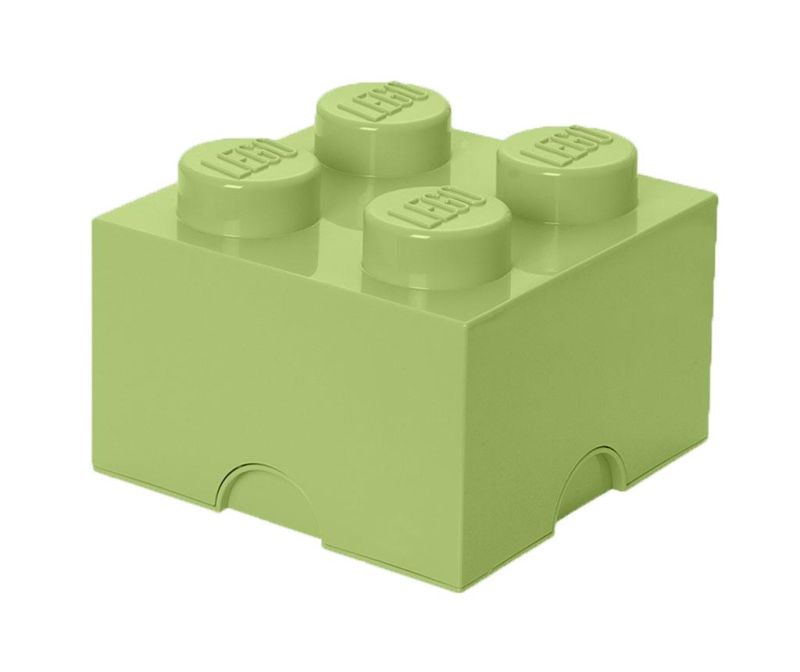 Škatla s pokrovom Lego Square Four Yellowish Green