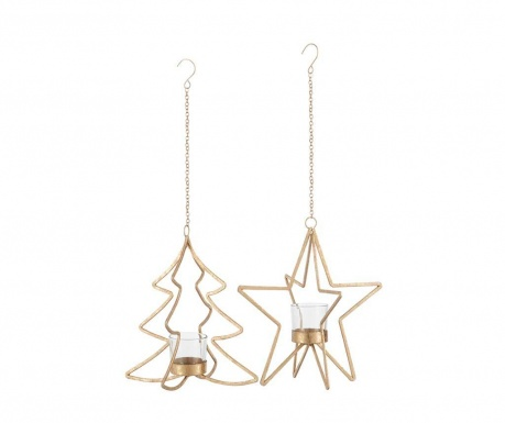 Комплект 2 висящи свещника Tree and Star