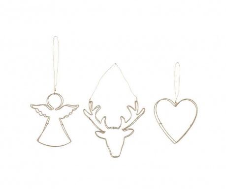Комплект 3 висящи декорации Angel Raindeer Heart