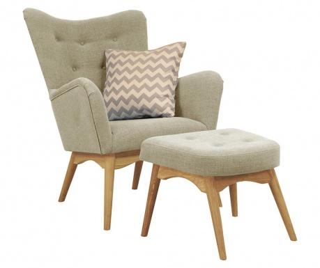 Zestaw fotel i  podnóżek Karl Beige
