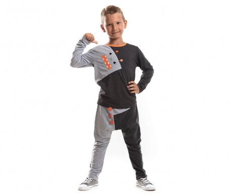 Set bluza si pantaloni Assymetric Orange Robot