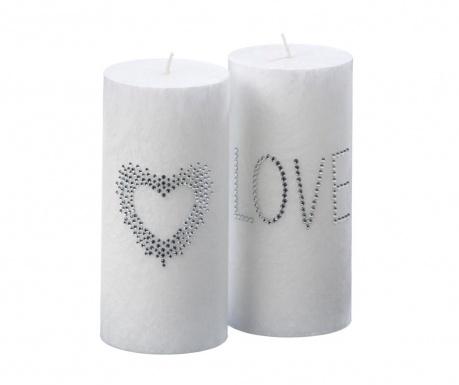 Комплект 2 свещи Love and Heart M