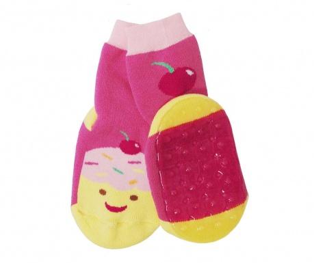 Чорапи с нехлъзгаща се подметка Muffin Fuchsia Yellow