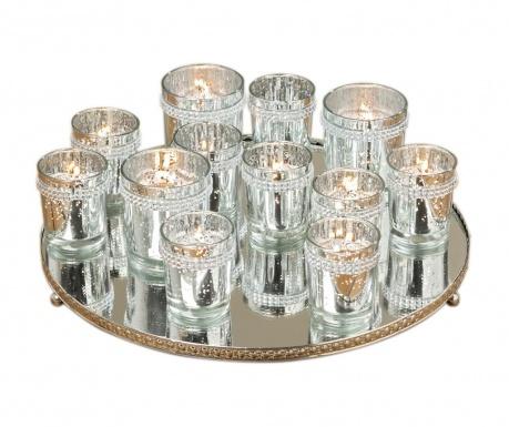 Комплект 12 свещника и поднос Shiva