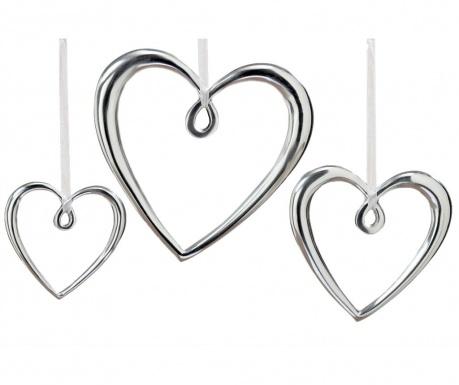 Комплект 3 висящи декорации Silver Hearts