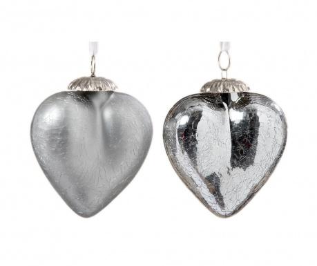 Комплект 2 висящи декорации Crackle Hearts Silver M