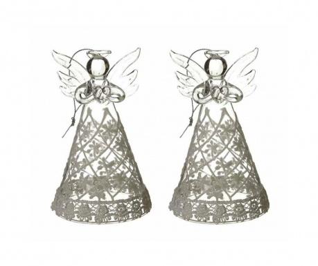 Zestaw 2 dekoracji wiszących Angels with Glitter Skirts