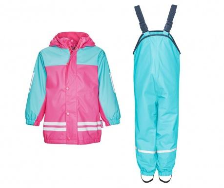 Komplet - otroška vodoodporna jakna in kombinezon Duo Colors Turquoise Pink 9-12 mesecev