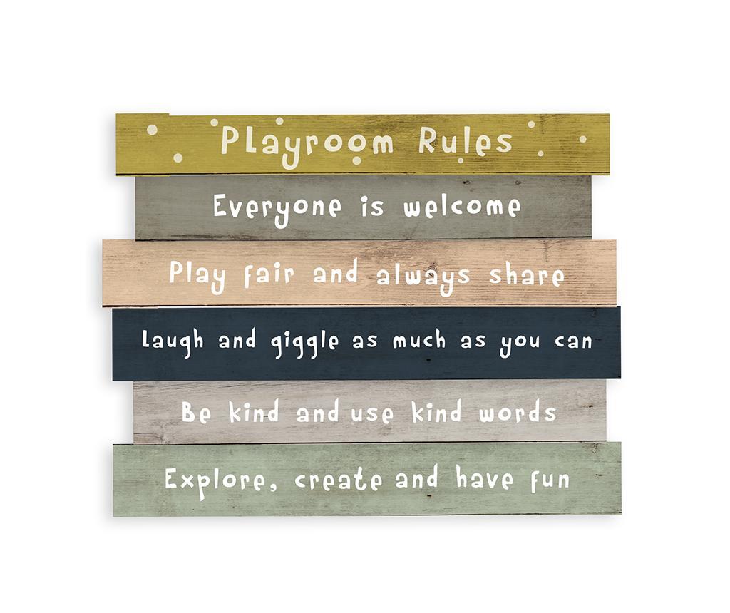 Decoratiune de perete Playroom Rules 30x50 cm - The Wild Hug, Multicolor