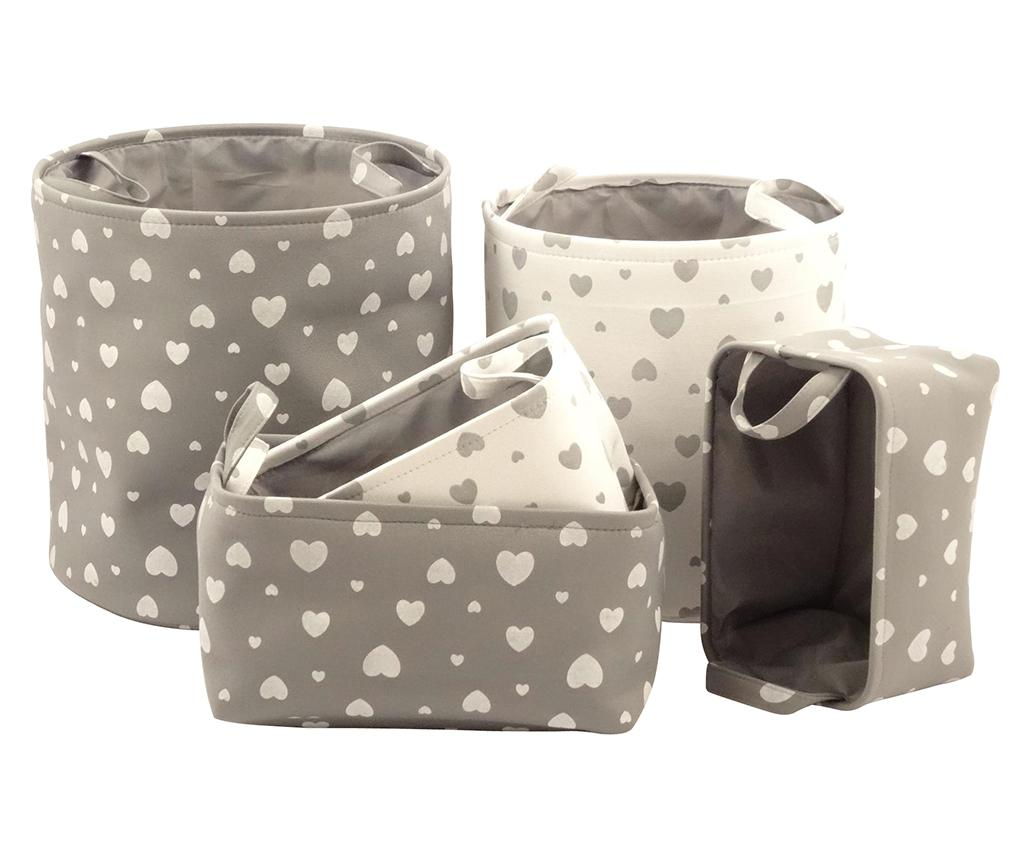 Set 5 cosuri Beige and Grey Hearts - Disraeli, Crem,Gri & Argintiu