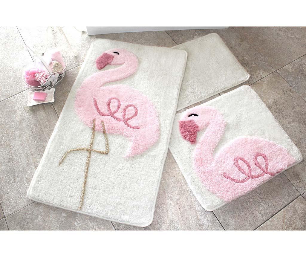 Set 3 covorase de baie Pink Flamingos - Chilai Home, Roz
