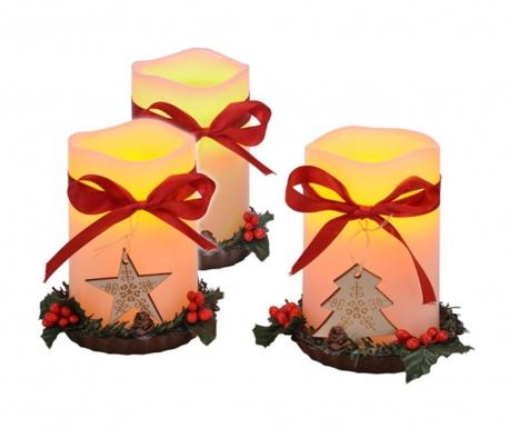 Zestaw 3 świeczek z diodą LED Happy