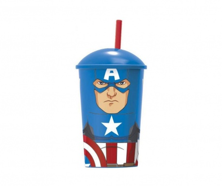 Captain America Pohár fedővel és szívószállal 400 ml