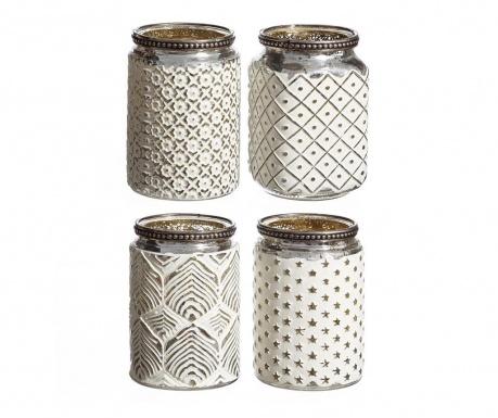 Sada 4 podstavců na svíčky Silvery Beads