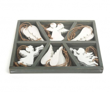 Set of 18 suspended Advent decorations Angel White