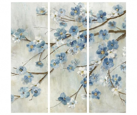 Set 3 tablouri Blooming Azul 30x90 cm