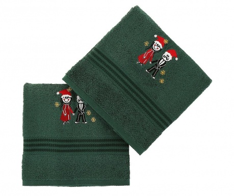 Set 2 kopalniških brisač Christmas Couple Green 70x140 cm